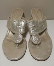JACK ROGERS 'MARINA' Women's Crackled Leather Kitten Heel Thong Sandals Sz 8M