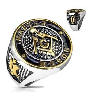 """Stainless Steel Gold & Black Masonic Symbol """"MASTER MASON"""" Ring Size 9-13"""