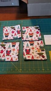 """4pc Gnomes Print Coaster Mug Rug Set Hand Made 5.25"""" sq 2 red & 2 green backs"""