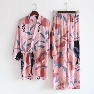 New Chinese Japanese Large Flowers In Pink Long Ladies Kimono Pyjamas ladpj320