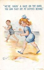 """Seaside humour """"We're havin' a race on the sand, you can see my sister's behind"""""""