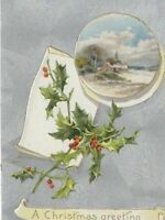 CE-206 Christmas Greeting John O. Winsch Divided Back Postcard Holly Berries