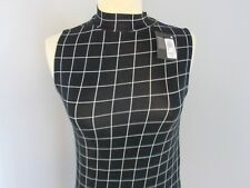 BLACK and WHITE CHECK DRESS PARTY DRESS BEACH HOLIDAY CLUBBING NON CREASE SIZE 8