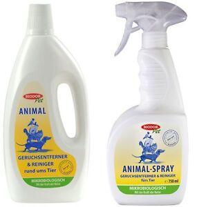 Biodor Pet Animal Geruchentferner und Reiniger Set 1 Liter (1 L) + Spray 750 ml
