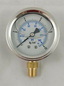 """2.5"""" Pressure Gauge 150 psi 10 kg/cm² Liquid Filled 1/4""""PT - PRESALE"""