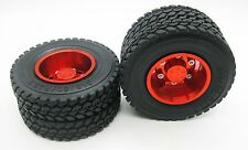 2p x 1/14 Rear aluminum wheels rim Tires for RC Tamiya 1/14 Tractor Truck Red