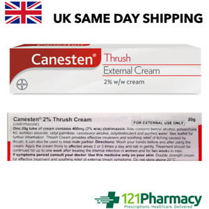 Canesten 2% Thrush Cream - 20g Double strength Effective Soothing Relief
