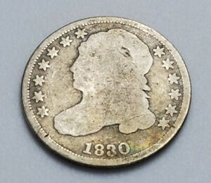 1830 Philadelphia Mint Silver Capped Bust Dime - US Coin from collection lot N