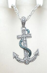 "Jane Seymour Sterling Silver Anchor Pendant Necklace Diamonds & Blue Topaz 16"""