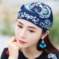Retro Ladies Ethnic Turban Hat Cap Head Wrap Scarf Beanie Embroidered Florals