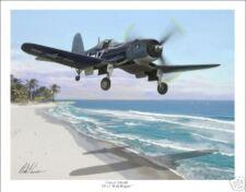 "F4U-1 Corsair VF-17 Jolly Rogers  11"" x 14"" Aviation Art Print"