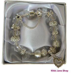 Sparkling Silver Charm Rhinestone Heart Bracelet - Gift Present Boxed