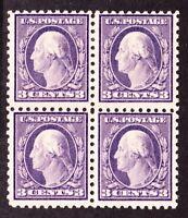 US 426 3c Washington Block of 4 Mint OG (3)NH (1)LH SCV $85+