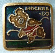Gimnastics pin badge Olympic Moscow 1980 Misha Bear