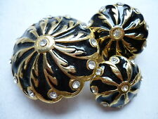 BOTTONE GIOIELLO VINTAGE ORO NERO STRASS SWAROVSKY  BUTTON  BOUTON  COUTURE