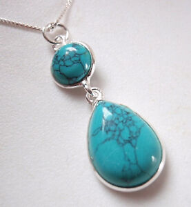 Turquoise Teardrop Round 2-Gem 925 Sterling Silver Necklace Corona Sun Jewelry