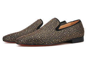 Merlutti Gold Rhinestone Loafers Sparkly Crystals Shoes Prom Wedding Flat