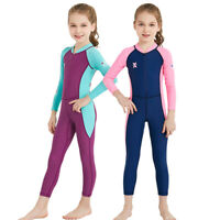Kids Wetsuit Long Sleeves One-Piece Diving Suit Children Rash Guard Swimwear NEW