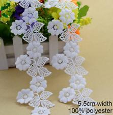 White Embroidered 5.5cm Trim Tassel Floral Lace Ribbon DIY Craft Price per 30cm