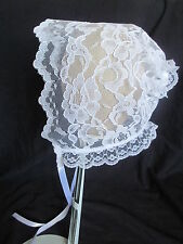 Baby Girls White Lace Christening/Baptism Bonnet Size  0-24 Months