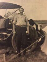 Postcard, RPPC, Man And Car Lethbridge Alberta Canada Vintage P24