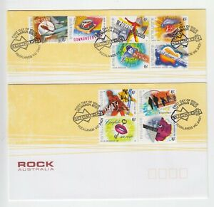 """""""Rock Australia"""" - First Day Cover 2001 - 10 x 45c stamps (2 covers)"""
