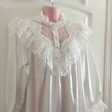 Ilise Stevens Full Length Nightgown White with Lace and Embroidery Size Large L