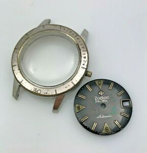 ZODIAC 1960s SEA WOLF Mens Wristwatch Steel Case & Dial for parts