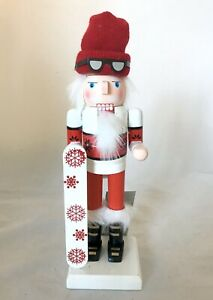 New Snowboarding Skier Wooden Nutcracker Christmas Decor Whimsical Red White