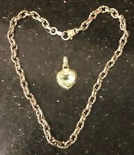 JUDITH RIPKA 18K GOLD STERLING NECKLACE w/ MATCHING GREEN HEART ENHANCER