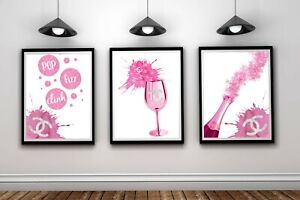 Girls Fashion Art Print Perfume Bottle Logo Silver Glitter Effect Bedroom Poster