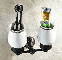 Black Oil Brass Carved Art Base Bathroom Toothbrush Tumbler Holder Sets qba451