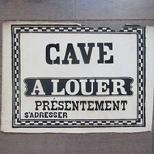 AFFICHE ANCIENNE 1810 CAVE A LOUER MAISON IMMOBILIER IMPRIMERIE