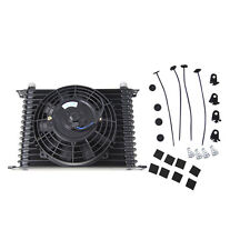 """Universal 15Row 10AN Oil Cooler Engine Transmission + 7"""" inch Electric Fan Black"""