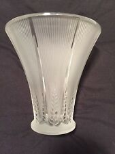 "Lalique Rene Epis Crystal Vase Stylized Wheat Pattern 6-5/8"" Signed France"