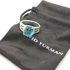 David Yurman Sterling Silver Petite Wheaton Blue Topaz & Diamond Ring Size 6