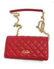 LOVE MOSCHINO Womens Shoulder Bag Clutch Red with Chain Small Love NWT New