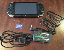 (QL) Black Sony PSP 2000 2001 System w/ Charger, Memory Card Bundle TESTED WORKS