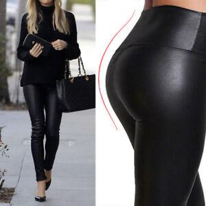 Womens ladies PVC leather PU leggings wet look stretch trousers pants*High Waist
