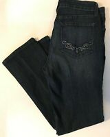 NYDJ Not Your Daughters Jeans Dark Wash Straight Leg Bling Size 6P