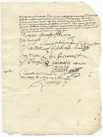 1697 LOUIS XIV royal notary signature manuscript document up to 6 signatures