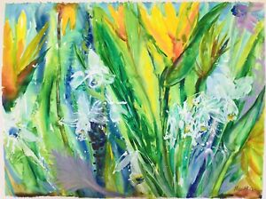 Jungle Flowers.Original Watercolor Painting