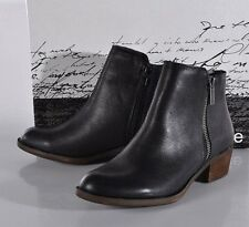 NEW Kensie Women's Short Leather Boots Black Ankle Bootie Ghita 8 MED Zip-up NIB