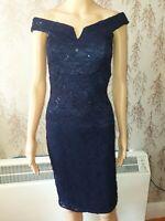 NEW Quiz Navy Blue Sequin Lace Bardot Dress