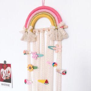 Kids Girl Hair Ribbon Wooden Pad Hanging Hair Clip Holder Storage Organizer FI