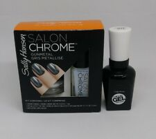 Sally Hansen Salon Chrome 3PC Kit Miracle Gel Polish #210 Gun Metal + Top Coat
