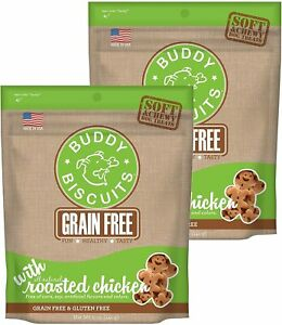 Buddy Biscuits Grain Free Soft & Chewy Dog Treats, Roasted Chicken, 2 Pack, 5oz