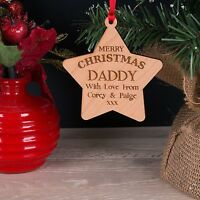 Personalised Mummy, Dad, Daddy Wooden Christmas Tree Star Decoration Bauble Gift