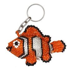 "Nemo Key Chain Ring 3"" Artisan Glass Beaded Clown Fish Mayan Women Jewelry Art"