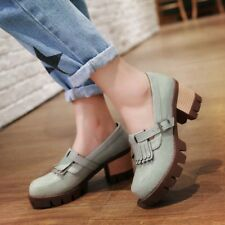 Womens Girl Cute Retro Oxford Chunky Heel Platform Shoes Comfortable All Size